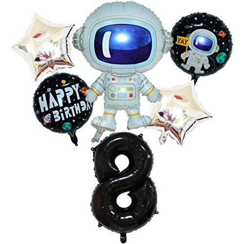 DIWULI, juego de globos espaciales de astronauta grande, globo XL número 8 negro, globos de lámina de feliz cumpleaños, 8º cumpleaños infantil, fiesta temática, decoración, cohete, nave espacial