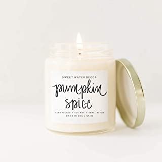 Sweet Water Decor Pumpkin Spice Natural Soy Wax Candle Glass Jar Scented Vanilla Cloves Buttercream Cinnamon Cedarwood Autumn Fall Latte Pumpkin Pie French Country Rustic Farmhouse Decor Fragrance