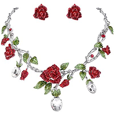 EVER FAITH Silver-Tone Rhinestone Crystal Gorgeous Red Rose Flower Green Leaf Necklace Earrings Set Clear
