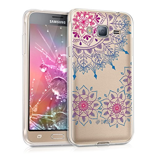 kwmobile Hülle kompatibel mit Samsung Galaxy J3 (2016) DUOS - Hülle Handy - Handyhülle - Vintage Blumenring Pink Blau Transparent