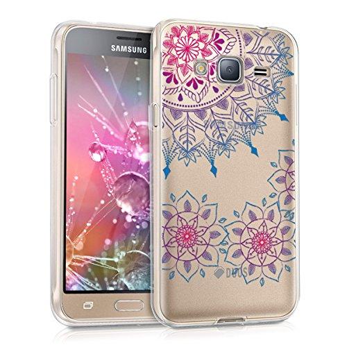 kwmobile Cover Compatibile con Samsung Galaxy J3 (2016) DUOS - Custodia in Silicone TPU - Back Case Cover Protettiva Cellulare Art Mandala Fucsia/Blu/Trasparente