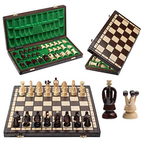 Grand jeu d'échecs européen en bois véritable PERLES 44cm / 17in. L'un des jeux d'échecs artisanaux les plus populaires