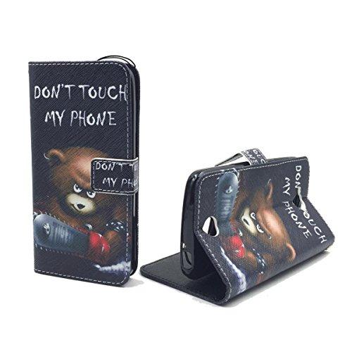 König Design Handyhülle Kompatibel mit Acer Liquid Z530 Handytasche Schutzhülle Tasche Flip Hülle mit Kreditkartenfächern - Don't Touch My Phone Bär mit Kettensäge