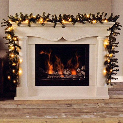Multistore 2002 Weihnachtsgirlande 270cm Grün mit Lichterkette 35 Lampen Warmweiß Kunsttanne Tannengirlande Weihnachtsdeko