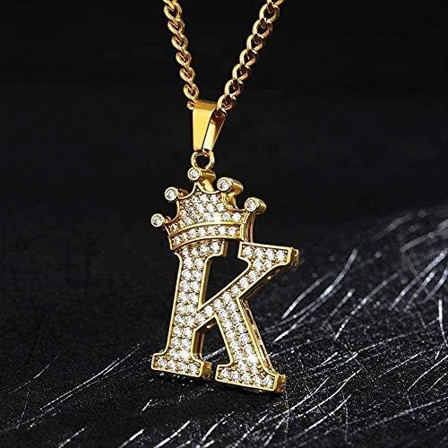 NONGYEYH co.,ltd Collar Collar Crystal Zirco Alphabet Collares Pendientes para Mujeres Hombres Corona Letra Inicial Collar Hip Hop Cadena Collar de joyería