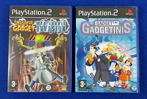 PS2 Inspector Gadget x2 MAD Robots Invasion + Gadget & The Gadgetinis PAL UK EXCLUSIVES (PAL Console or Region Converter needed) (Sony Playstation 2)