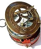 marine Brújula de trabajo de latón náutico con funda de cuero vintage de bolsillo brújula hecha a mano náutico negro antiguo estilo de reloj de sol brújula con estuche de cuero regalo