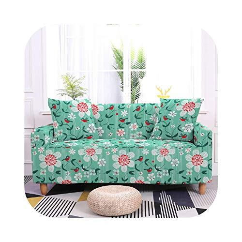 HCIUUI Nordic Style Flower Sofa Cover Tight Wrap Sofa Towel Elastic Stretch Sofa Cover for Living Room 1/2/3/4 Seat Slipcovers-SF015-12-4- Seater 235-300 cm