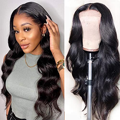 Allove HD Transparent Lace Front Wigs Human Hair Wigs for Black Women, 13x4 Body Wave Lace Frontal Wigs Human Hair with Baby Hair 150% Density Brazilian Human Hair Lace Wigs Natural Color 22inch
