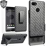Google Pixel 3 XL Holster Case w/ Pixel3XL Screen Protector Tempered Glass, Ailiber Slim Full Body Shockproof Armor Swivel Clip Kickstand 2in1 Hard Shell Protective Cover for Google Pixel XL3 - Black