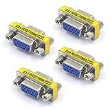 VCE 4-Pack VGA SVGA Coupler HD15 Female to Female Mini Gender Changer Coupler Vga Cable Adapter