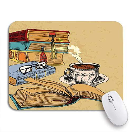 Gaming Mouse Pad Literatur Vintage Bücher Tasse Kaffee farbige Skizze literarische rutschfeste Gummi Backing Computer Mousepad für Notebooks Maus Matten