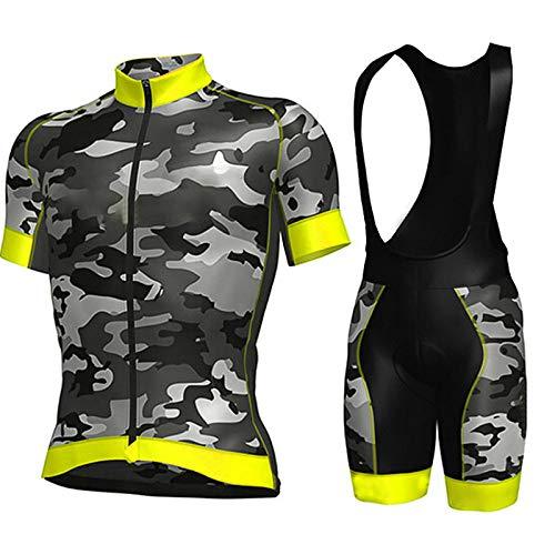 Radtrikot Set Herren,Gelbes Camouflage-Design Road Riding Mtb-Kleidung Trägerhose Atmungsaktives Gelpad Reißverschlusshemd Feuchtigkeitstransport Mit Schnell Trocknendem, Atmungsaktivem Stoff, Xxl