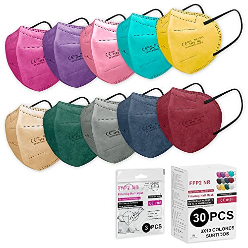 Milarosa Mascarillas FFP2 Homologadas Españolas. Mascarilla FFP2 Colores. Caja 30 Unidades. Desechable Proteccion Personal 5 Capas. Mascara Filtro 95 %. 3x10 Colores