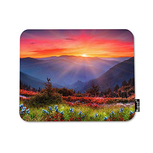 Mugod Mountain Nature Mouse Pad Rocky Mountain Sunset Sunshine Red Blue Flowers Mouse Mat Non-Slip Rubber Base Mousepad for Computer Laptop PC Gaming Working Office & Home 9.5x7.9 Inch