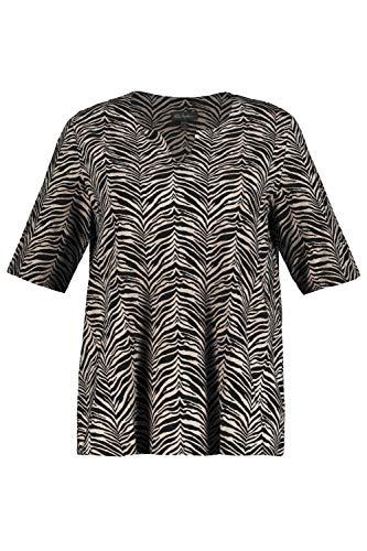 Ulla Popken Damen große Größen Shirt schwarz-beige 54/56 747294 10-54+