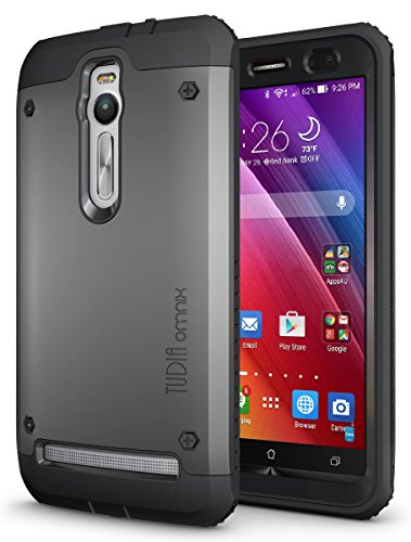 TUDIA Tough OMNIX [Heavy Duty] Hybrid Full-Body Protective Case with Front Cover and Built-in Screen Protector for ASUS ZenFone 2 ZE550ML/ZE551ML (Not Compatible with ZE500CL) (Metallic Slate)
