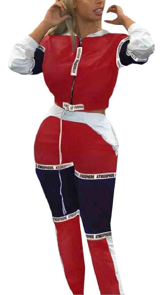 セクションボット勝つ女性ロングスリーブのcolorblockトラックスーツジッパートレーニング2ピースoufit