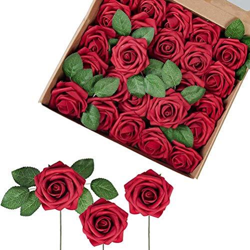 Dan&Dre Decoración para el día de San Valentín, 25 rosas artificiales para decoración de ramo de flores artificiales para bricolaje para decoración del hogar, fiesta, boda