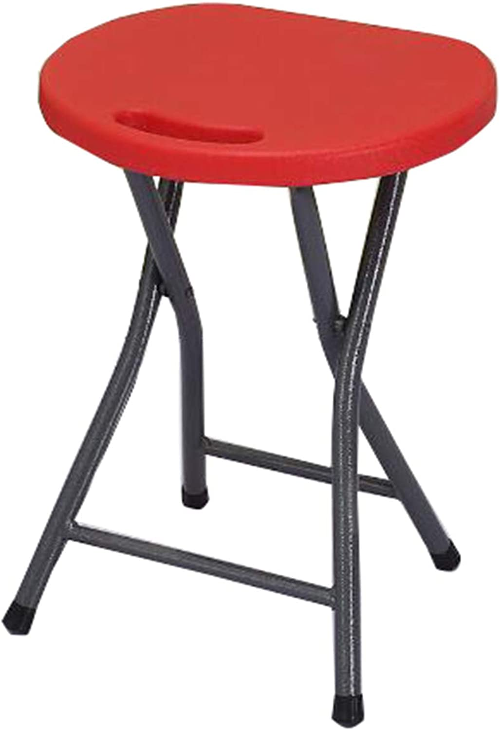 Folding Stool Portable Plastic Folding Chairs with Durable Steel Frame Legs for 150KG Bearing Capacity Easy Carry Handle Heat Wear Resistant Stools for Indoor or Outdoor Garden Use-red