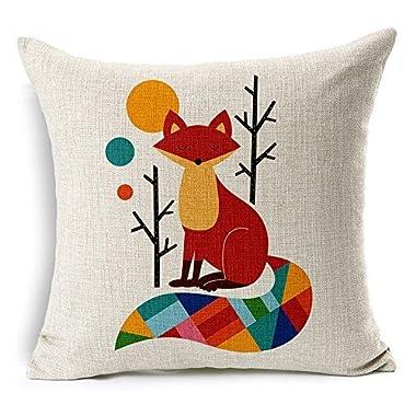Lyn? Cotton Linen Square Throw Pillow Case Decorative Cushion Cover Pillowcase for Sofa Color Fox 18  X 18   ¡