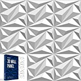 3D Wall Panels Peel and Stick Wall Panels for Interior Wall Decor Diamond Accent Design Waterproof Doesn't Bend Includes 12 PVC Decorative Wall Panels Sheets of 19.7 x 19.7 inch 32 sq ft
