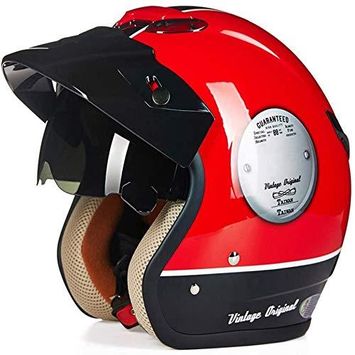 ZHXH Harley Motorrad Motorrad Helm/Punkt Zertifizierung für Scooter Outdoor Sicherheit 3/7 Helm mit offenem Gesicht + eingebauter Sonnenschirm (weiß rot)