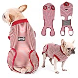 EMUST Dog Recovery Suit, After Surgery Wear for Dogs Male Female, Pet E-Collars Alternative Bandages, Professional Dog Onesie for Surgery for Abdominal Wounds, Weaning&Skin DiseasesBurgundy Strip/S