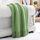 NUYECY Grade A Acrylic Knitted Throw Blanket,Woven Blanket with Tassels Wave Textured,Lightweight Farmhouse Decorative Blanket Throws for Couch Sofa ,Travel Throw Blanket 50x60inch Green