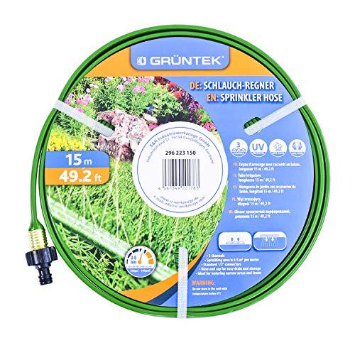 GRÜNTEK Schlauch-Regner, Sprinkler Gartenschlauch 15 m, Beregnungsfläche 4-5 qm/m, Länge flexibel erweiterbar, Bewässerungsschlauch mit Verbindungsstück aus Messing
