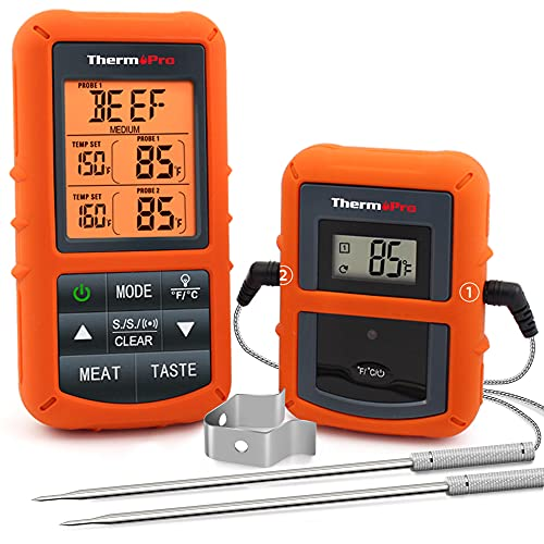 ThermoPro TP20 Wireless Remote Digital Cooking Food Meat Thermometer with Dual Probe for Smoker...