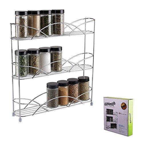 Kitchenista vrijstaande universele kruiden- en kruidenrek, past in potjes van verschillende grootte en kruidenflessen - chroom