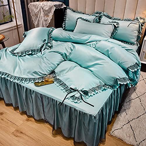 Edredón de microfibra reversible,La sensación de verano fresco es agua para lavar la ropa de cama de encaje de viento de la princesa de cuatro piezas de la princesa de cuatro piezas-A_1,8 m de cama (