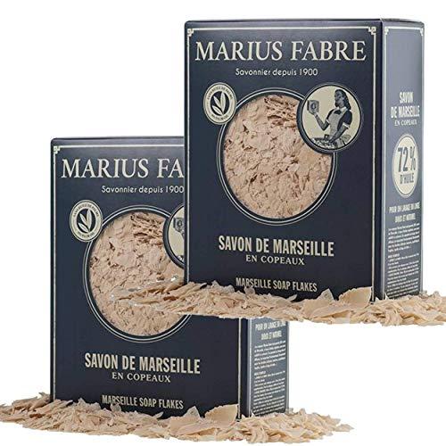 """Marius Fabre Savon de Marseille en Copeaux 750 g dans une bo""""te NATURE - Lot de 2 Boites"""