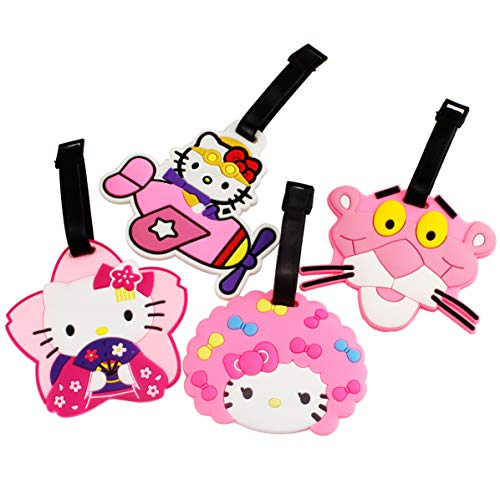 Vroegse 4 stks Roze Panter Hello Kitty Cartoon Reisidentificator Bagage Tag Koffer Tas ID Kaart met Verstelbare Band