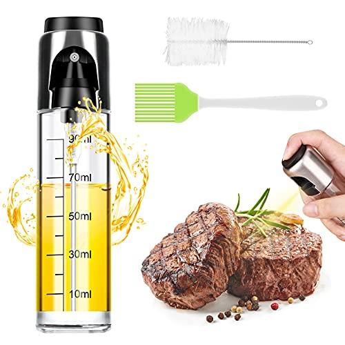Pulverizador Aceite,Spray Aceite Cocina,100ml Dispensador Aceite de Oliva Vinagre Rociador Aceitera Cristal para BBQ,Pan,Cocinar,Ensalada,Hornear