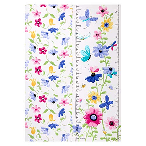 Hamil Textiles 0667890 Susybee Flutter the Butterfly growth chart 30'' panel Fabric Stoff, Textil, Lilac-multi