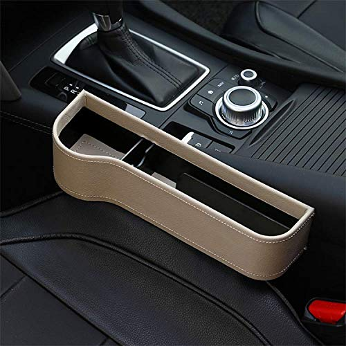 Car Seat Gap Filler Premium PU Full Leather Seat Console Organizer, Car Pocket Organizer, Car Interior Accessories, Car Seat Side Drop Caddy Catcher, Storage Box, Console Side Pocket (1 Pack)