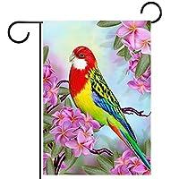 春夏両面フローラルガーデンフラッグウェルカムガーデンフラッグ(28x40in)庭の装飾のため,大きな鳥の赤いオウム