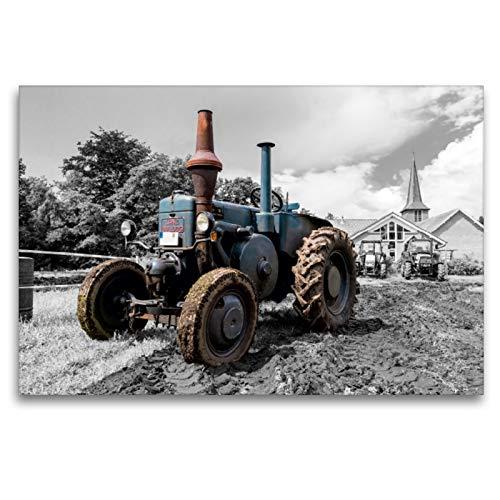 Premium Textil-Leinwand 120 x 80 cm Quer-Format Lanz Bulldog   Wandbild, HD-Bild auf Keilrahmen, Fertigbild auf hochwertigem Vlies, Leinwanddruck von Andrea Dreegmeyer