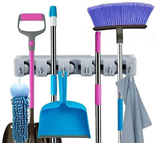 NETTEMPT Besenhalter zur Wandmontage, Gartenwerkzeug-Organizer, 5 Positionen, 6 Haken für Zuhause, Küche, Garten, Werkzeuge, Garage, Organisation (grau)