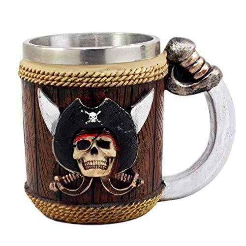 XYSQWZ Viking Pirate Skull Mug Gourde Mittelalterliche Krug Bierkrüge 3D Edelstahl Kaffeetassen Und Tassen Trinkgeschirr