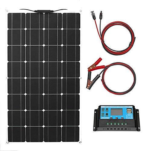 Panel Solar 100w 12v Kit de Panel Solar Monocristalino Flexible Con Conector PV Controlador 10a Impermeable Cargador Solar Para Autocaravana, Techo, Caravana, Barco Y 12v Baterías(100 Vatios)