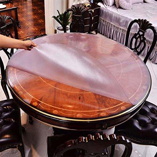 Table ronde en verre mou en verre imperméable de PVC de table ronde de tissu transparent de table ronde de tissu, C, diameter 90cm