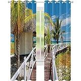 Dormitorio cortinas opacas, Playa Tropical en Cuba Getaway Resort Jetty Bungalow Vacaciones Exóticas Vista Escénica, W52 x L84 Para Puertas Correderas De Vidrio Sala, Blanco Verde Azul