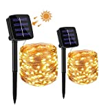 Luci Solari per Giardino, SUPERNIGHT LED Stringa Luci 20M 200 LED Impermeabile Catena Luminosa Solare da Esterno con 8 Modalità Decorative Per Patio, Cancello, Cortile, Festa, Albero di Natale [2*10M]