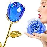 Rosa plateada de oro de 24 quilates, regalo de San Valentín de cumpleaños de flores artificiales de tallo largo para madres/Acción de gracias/Navidad/San Valentín/Cumpleaños/Bodas (Bud-Blue)