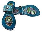 Peint à la main Motif Mandala Paon Design Femmes Biblique Cuir Sandales Dames Fait à la Main Turquoise Multi Colored Strap Sandales Robe Indienne Pantoufle, multicolore (Turquoise multicolore.), 39 EU