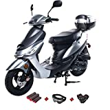 X-PRO 50cc Moped Scooter Gas Moped 50cc Scooter Street Bike (Silver)
