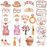 Bridal Shower Photo Booth Props Kit - Rose Gold Wedding Shower Decorations - Bachelorette Party Supplies - No DIY Needed, 27 Count